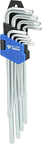 Brilliant Tools BT044019 Jeu de clés TORX Longues à tête sphérique. 9 pcs, Bleu/Noir, 9-TLG