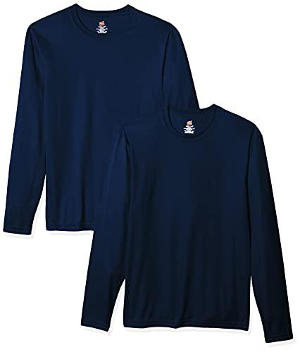 Hanes Men's Long Sleeve Cool Dri T-Shirt UPF 50+, X-Small, 2 Pack ,Navy