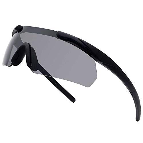 SPOSUNE Outdoor Tactical Brille mit 3 Austauschbaren Gläsern, Schlagfestigkeit Schießbrillen, Unisex-Schutzbrille Anti-Fog UV400 Augenschutz Sonnenbrille für die Jagd Radfahren Fahren