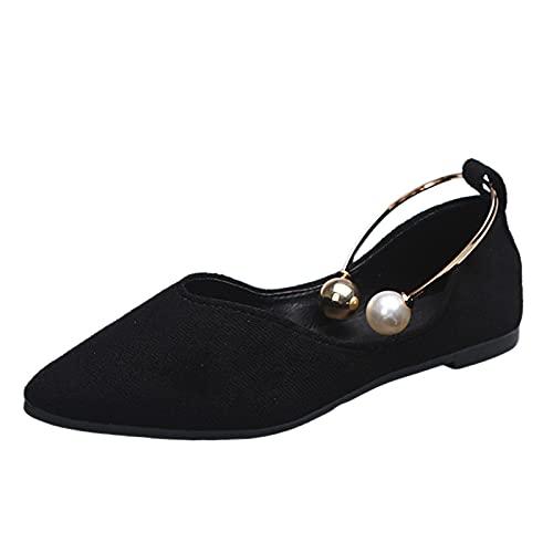 Zapatos Mary Jane para Mujer, Zapatos clásicos con Hebilla de Punta Redonda, Zapatos Casuales de Boca Baja, apatos Individuales para Mujer 2021 Verano Casual Zapatos Planos