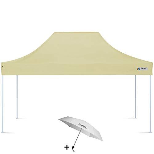 Faltpavillon + Freier Regenschirm (3x4,5m, Beige)