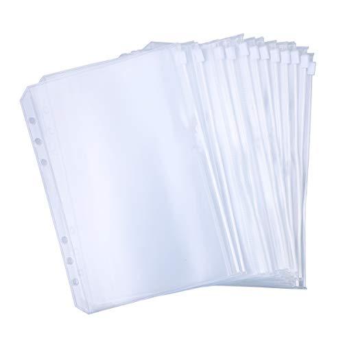 Antner 12PCS Binder Pockets A5 Size 6 Holes Binder Zipper Folders for A5 6-Ring Notebook Binder, Waterproof PVC Pouch Document Filing Bags