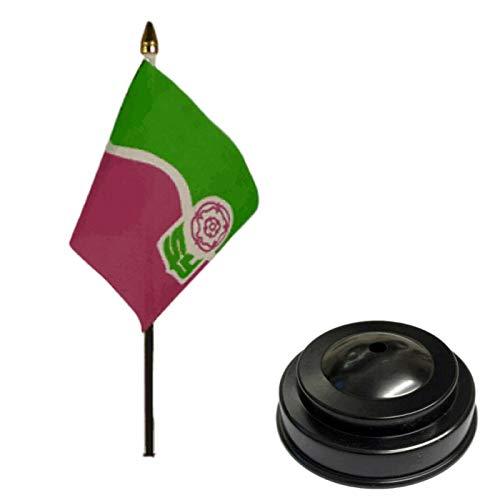 Flagmania Bandera de mesa de escritorio de South Yorkshire de 15 x 10 cm con base plana de plástico negro