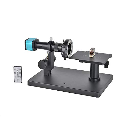 HAYEAR 14MP HDMI HD USB Digital Industry Video Microscope Camera Remote Control + Horizontal Microscope Table Stand +180X C-Mount Lens+144 LED Light