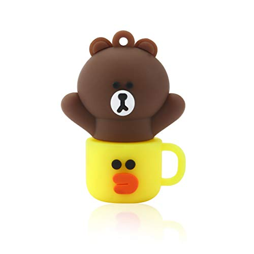 Novelty Bear Cup Shape Design 32GB USB 2.0 Flash Drive Cute Memory Stick Stitch Thumb Drive Data Storage Pendrive Cartoon Jump Drive Gift