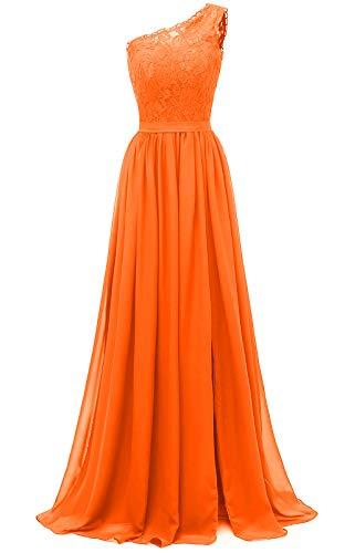 yinyyinhs Damen EIN Schulter langes Abendkleid Spitze Chiffon Brautjungfernkleid Side Split Abendkleider mit Taschen Größe 42 Orange