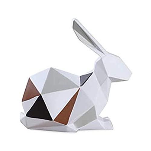 YLFH Decoración para el hogar Artesanía de Resina, Ornamentos geométricos tridimensionales, Adornos creativos de Dibujos Animados Decoraciones para el hogar Resina 16 cm Rabbit