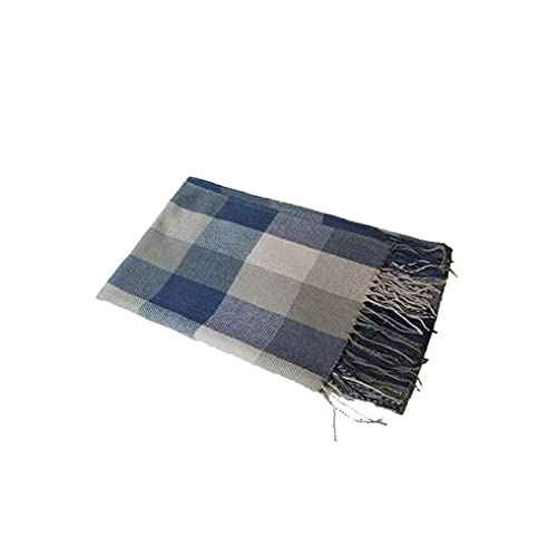 Invierno largo suave tartán de tartán cálido comprobar bufandas envolturas para mujeres de lana spinning borla mantón largo estollo azul y gris conveniente