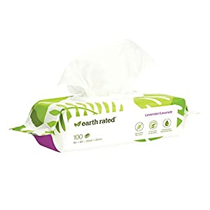 Earth Rated Dog Wipes, Plant-based, Compostable Wipes for Dogs & Cats, USDA-Certified 99% Biobased, Hypoallergenic, 8×8″ Deodorizing Grooming Pet Wipes for Paws, Body and Butt