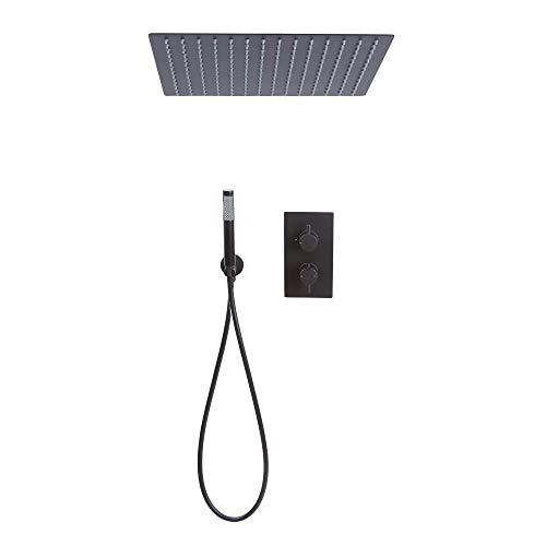 Hudson Reed Nox - Doucheset 2-weg Inbouw Thermostatisch Met Omstel Incl. Handdouche En Inbouw Plafond Douchekop 40 x 40cmMat Zwart - Nox