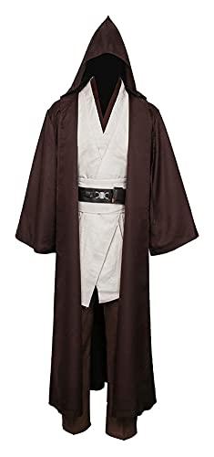 RRUUGK Traje de los hombres Jedi Túnica medieval con capucha Cloak Cloak Cloak Robe Adulto Halloween Cosplay Disfraz (Color : Brown, Size : S)