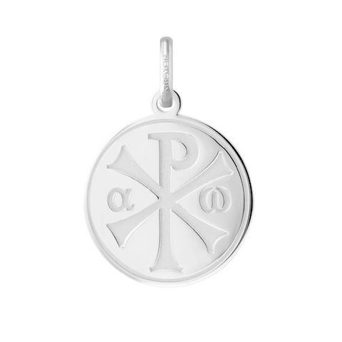 Chrisme – religiöse Medaille – Weißgold 18 Karat – Durchmesser 18 mm