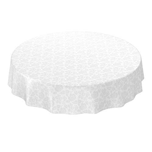 ANRO Wachstuchtischdecke Wachstuch abwaschbar Tischdecke Blumen Einfarbig Uni Weiß Reliefdruck Damast Rund 140cm