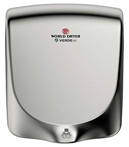World Dryer Q-973A VERDEdri Commericial Hi-Speed Quick-Dry Surface-Mounted ADA Compliant Hand Dryer, Stainless Steel Cover Brushed, Universal Voltage 110-240V