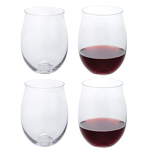 Great for White Or Red Wine Mothers Day Wine Gifts Wines Glass Sets. JoyJolt Spirits Stemless Wine Glasses 19 Ounce Set of 4