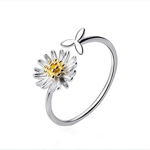 yqs Anillo abierto margarita pequeña margarita flor abierta anillos para mujer pintura blanca anillo de boda joyería de moda regalos