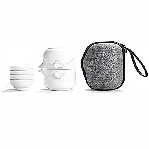 Tetera de cerámica de estilo japonés hecha a mano, portátil, ideal para viajes, hogar, al aire libre y oficina, color blanco