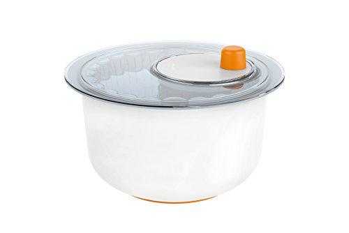 Fiskars Salatschleuder mit Servierschüssel, Durchmesser: 25 cm, Höhe: 16,9 cm, Kunststoff, Functional Form, Weiß/Orange, 1014433