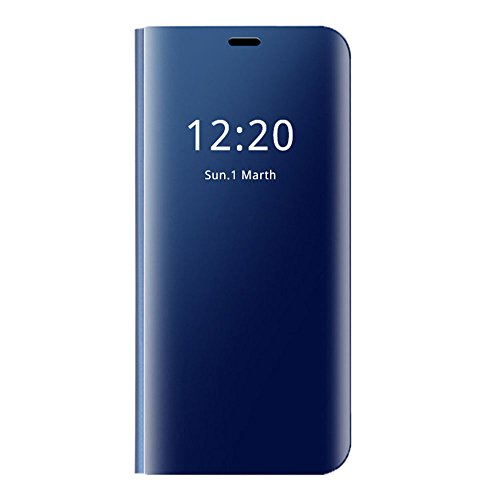 Hülle Kompatibel mit Galaxy J3 (2017) Galaxy J3 Pro (2017) Hülle, Galaxy J3 Pro Spiegel Schutzhülle Leder Flip Handyhülle Tasche mit Standfunktion Galaxy J3 Ledertasche (Galaxy J3 (2017), Blau)