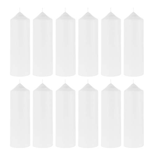Mega Candles 12 pcs Unscented White Dome Top Pillar Candle, Economical One Time Use Event Wax Candles 3 Inch x 9 Inch, Wedding Receptions, Birthdays, Party, Celebrations, Florists, Churches & More