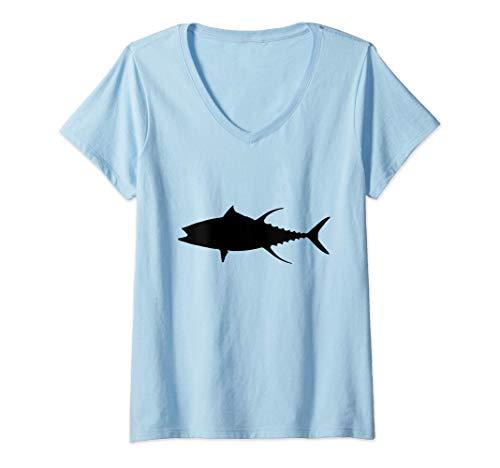 Mujer El atún de aleta amarilla Camiseta Cuello V