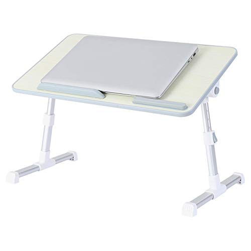 Nibokdis Laptop Desk for Bed, Bed Table Bed Desk for Laptop and Writing, Adjustable Computer Tray Laptop Stand for Bed or Sofa with Anti-slip Leather, Removable Stopper, Book Stand and Drawer (Silver)