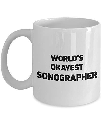 N\A ecografista de Taza del Mundo Okayest ecografista 11 oz de cerámica Blanca de café de la Novedad