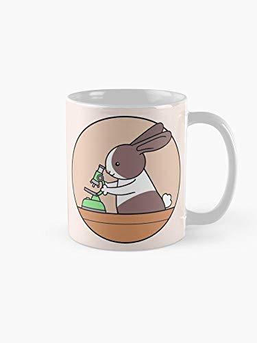 Cute Bunny Rabbit Scientist with Green Microscope Mug 11oz - Office 11 Ounces Funny Coffee Mug