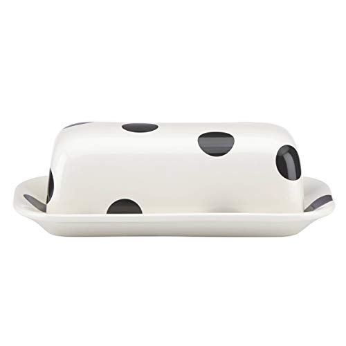 KATE SPADE 856724 Deco Dot Covered Butter Dish, 1.65 LB, White