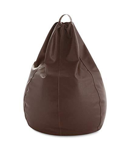 textil-home Diver-Puff - Poltrona Sacco modellabile XXL - 90X90X135 cm- Color Cioccolato. Tessuto POLIPIEL Alta Resistenza - Doppio Rimbalzo - (Include Imbottitura di Palline di polistirene).