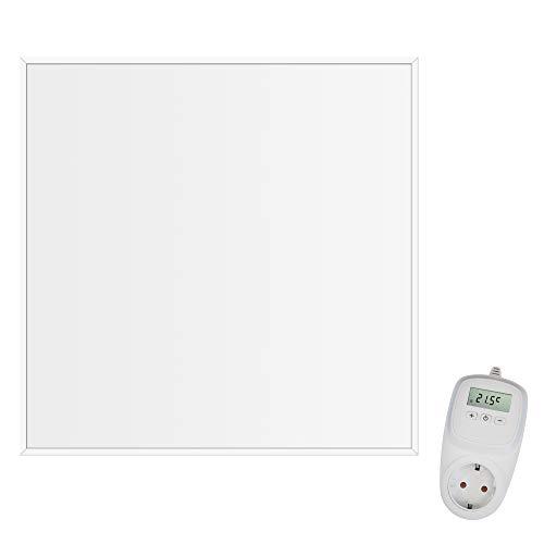 Viesta CF360 60x60cm Infrarotheizung Carbon Crystal (neueste Technologie) Decken Heizpaneel Heizkörper Heizung Heating Panel ultraflache Wandheizung Weiß 360 Watt TH10 Thermostat