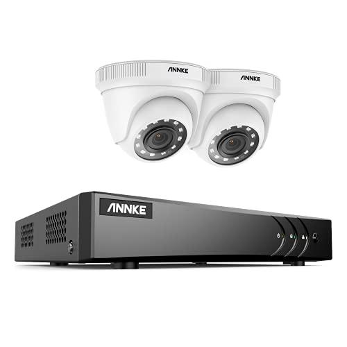 ANNKE Kit Video Surveillance Extérieures Filaires,Caméra de Surveillance Exterieur 1080p,5MP Lite 4 Canaux H.265+ DVR Vidéosurveillance avec 2 Caméras 1080p, Accès à Distance, Vision Nocturne