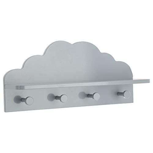 AC-Déco Atmosphera - Appendiabiti a forma di nuvola, 4 ganci e 1 ripiano, colore: Grigio