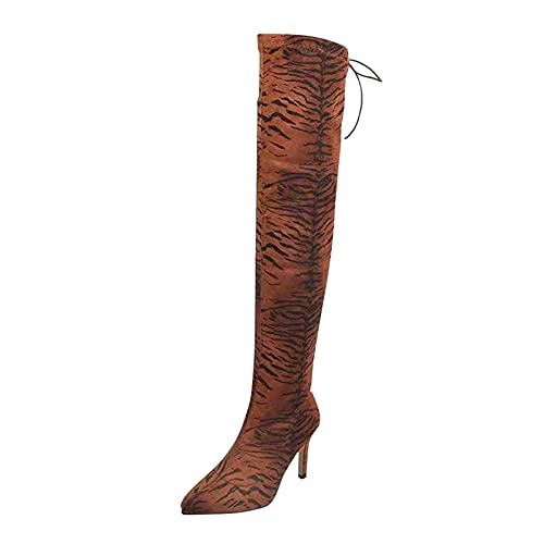 Botte Cuissarde Femme Chaussures Talons Aiguille Bottes Hautes Stretch Sexy Stiletto Serpent Thigh High Heels Boots Long Warm Chaussure Hiver