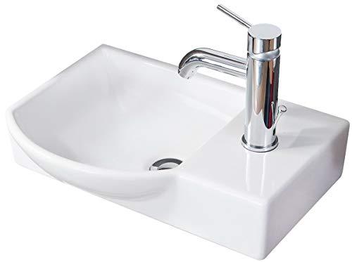 FACKELMANN Waschbecken links Gäste-WC / Waschtisch aus Keramik / Maße (B x H x T): ca. 45 x 10,5 x 32 cm / hochwertiges Becken fürs Badezimmer / Farbe: Weiß / Breite: 45 cm