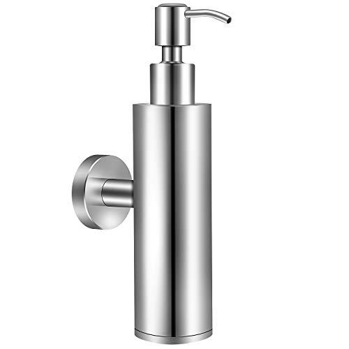 EXLECO Tvålpump väggmonterad rostfritt stål 304 200 ml krom tvåldispenser väggmonterad badrum manuell schampo duschgel flaska