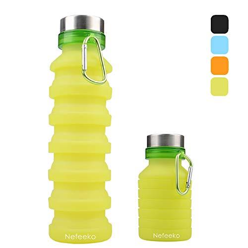 Nefeeko Faltbare Wasserflaschen, 550ML Faltbare Auslaufsicher Sportflasche, BPA Frei Silikon Flasche Wiederverwendbar Trinkflasche für Reise Camping Radfahren Klettern mit Karabinerhaken (Grün)