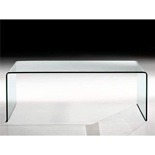 Mesa de Centro de Cristal Curvado Garbis 110 cm