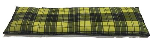 COVERBAGBCN Cuscino Termico Cervicale con Doppia Fodera con Noccioli di Ciliegia – Quadro Tartan Nero E Verde