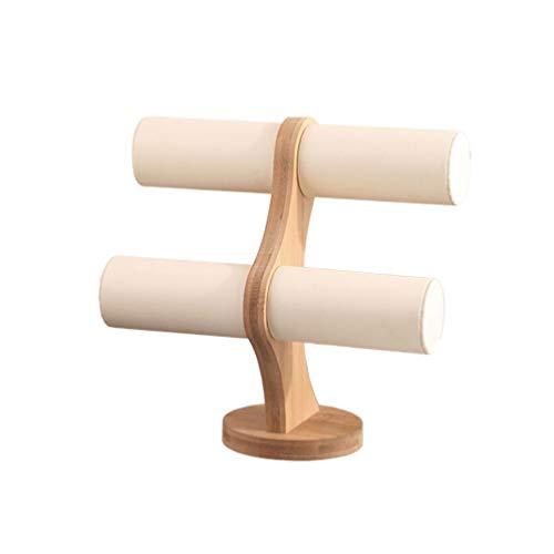 HEMOBLLO Armband Display Rack Lederarmband Halter mit Holzsockel Uhr Halskette Schmuck Armreif Display Ständer für Home Store (Weiß)