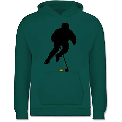 Sport Kind - Eishockey Spieler - 140 (9/11 Jahre) - Türkis - Pullover Kinder Jungen - JH001K - Kinder Hoodie