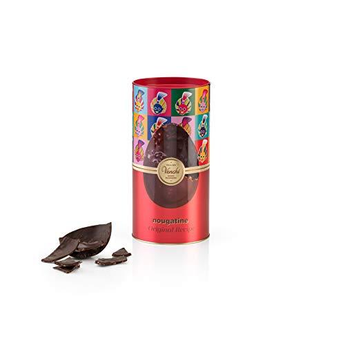Venchi Uovo di Cioccolato Nougatine in Cilindro Metallo, Cioccolato Extra Fondente con Nocciole Caramellate, con Sorpresa, senza Glutine, Vegano, Cacao