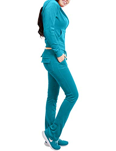 NE PEOPLE Womens Casual Basic Velour Zip Up Hoodie Sweatsuit Tracksuit Set S-3XL