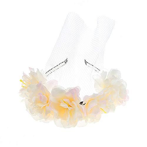 YAZILIND Tuch Schmetterling Stirnband Stirnband und Spitze Maske Braut Brautjungfer Hochzeit Haarschmuck gelb