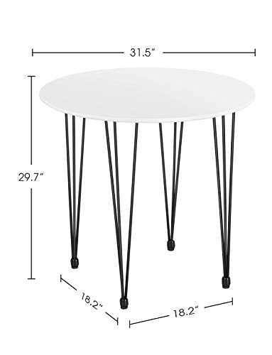 Kealive Dining Table Round Wood White Coffee Table Modern Style MDF Tabletop and Metal Legs Compact Size in Kitchen Dining Room, Living Room or Home Office, Mid Century Leisure Table