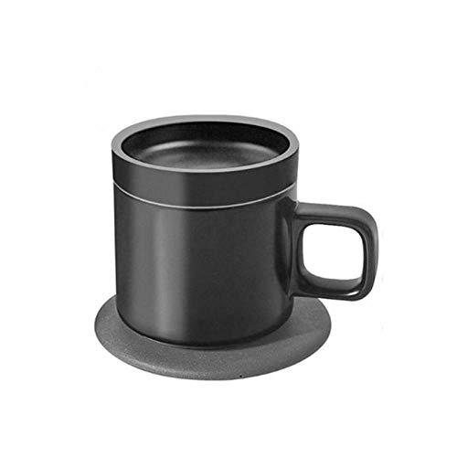 Heizkaffeetasse, 55 Grad, intelligente, kabellose Aufladung, elektrische Heizbecher, konstante Temperatur, isolierter Kaffeebecher, schwarz