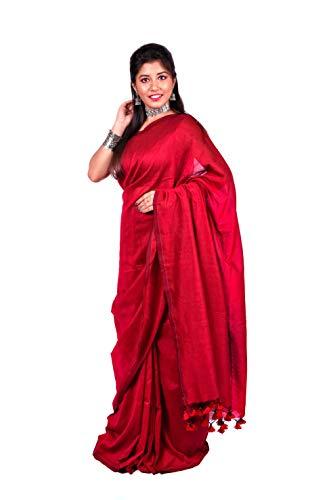 Handloom Khadi Cotton Red Saree(Bengal) With Blouse Piece
