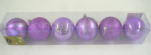 Festive Productions Ltd - Palline Assortite Per Albero Di Natale, 80 Mm, Confezione Da 6, Colore: Lilla