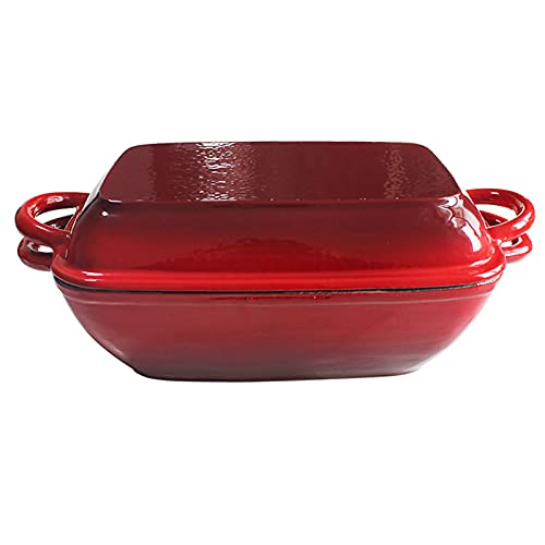 KELUNIS Enameled Cast Iron Double Dutch Oven & Skillet Lid Heavy Duty Crock Pot Braiser with Non-Stick Coating & Side Handles, Gas, Electric, Induction, Oven Compatible,Red