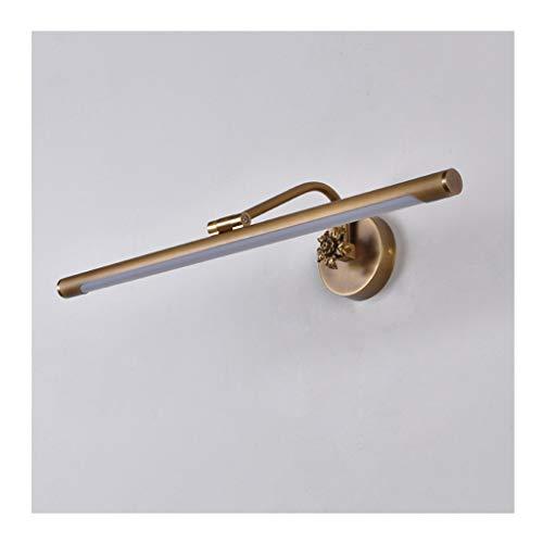 William 337 Spiegel met LED-licht, voor badkamer, make-uptafel, retro, eenvoudig, wandlamp, spiegel voor kast, goudkleurig [energie-efficiëntieklasse A ]